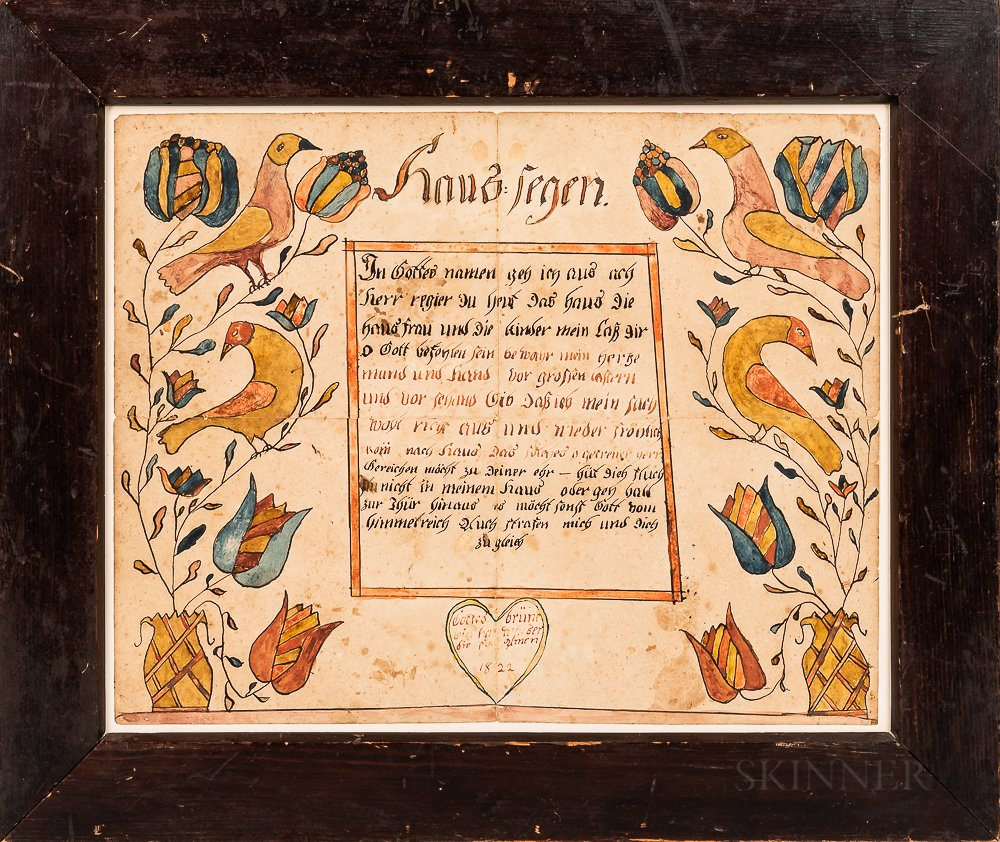Very Rare Watercolor and Pen and Ink House Blessing Fraktur