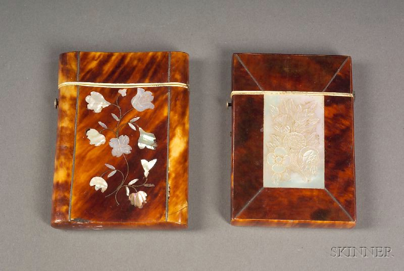 Two Tortoiseshell and Mother of Pearl Inlaid Card Cases
