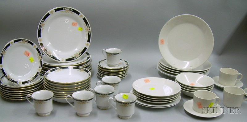 Thirty-eight Piece Crown Ming Adriana Pattern Porcelain Partial Dinner Service and Twenty-four Pieces of Japane...