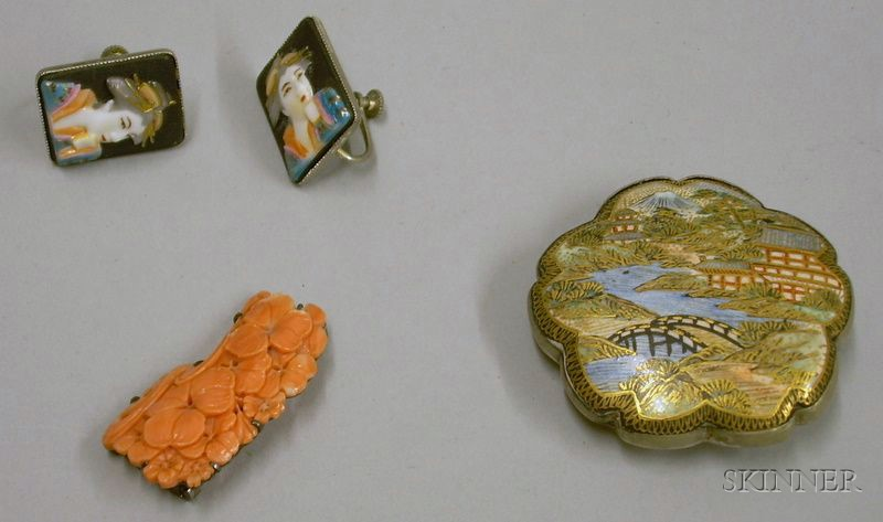 Japanese Carved and Pierced Coral Floral Brooch, Satsuma Pottery Buckle, and a Pair   of Ceramic Geisha Plaque Earrings