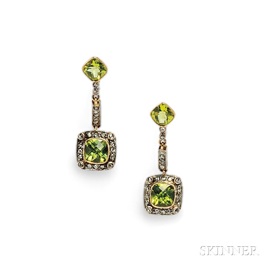 Peridot and Diamond Earpendants