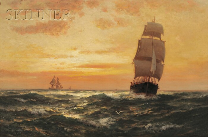 Edward Moran (American, 1829-1901)      Ships at Sunset