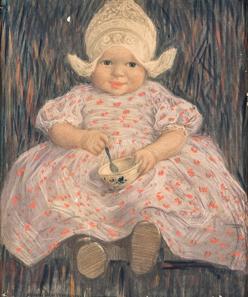 Enhanced Print After Marcia Oakes Woodbury (American, 1865-1913)      Seated Dutch Child with a Bowl and Spoon