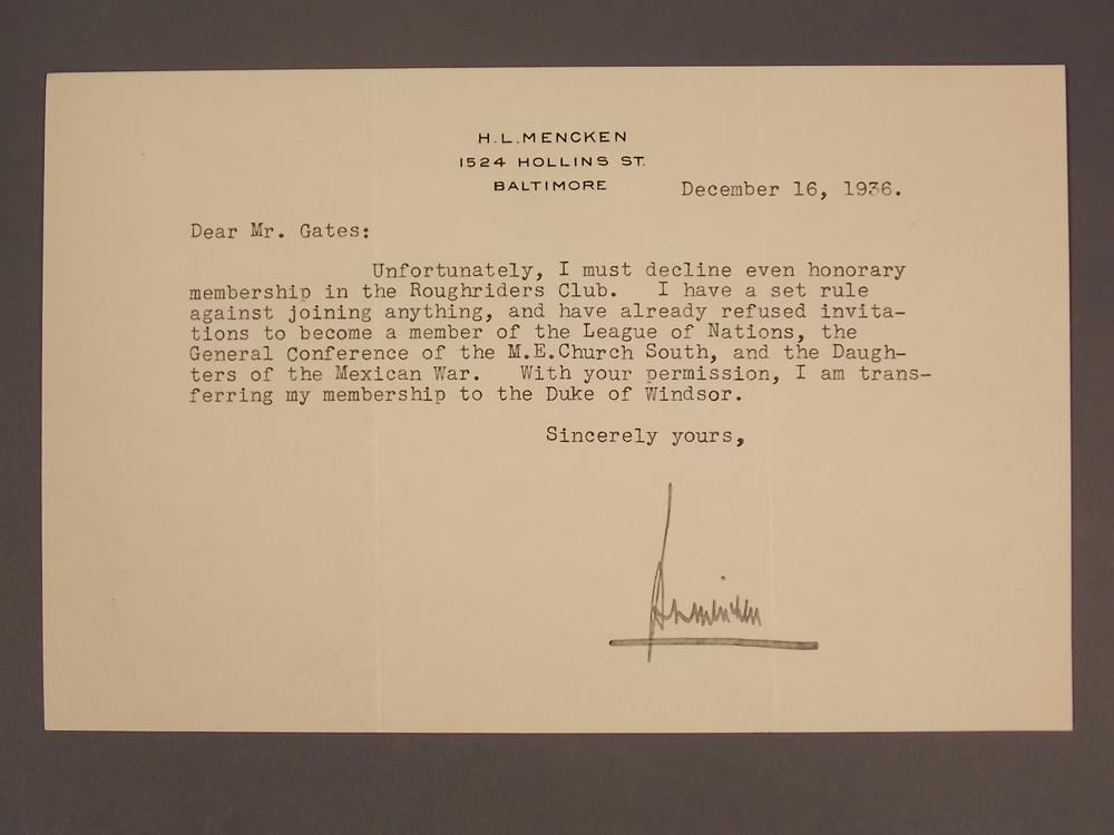 Mencken, Henry Louis (1880-1956) Twenty Typed Letters Signed.