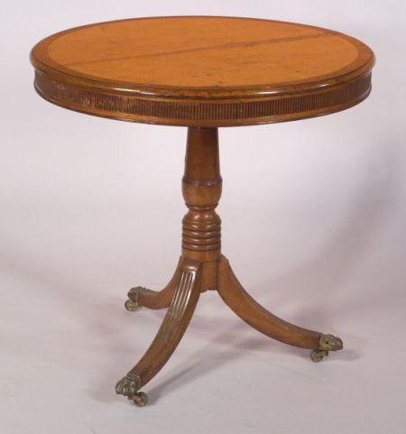 Regency Bird's-eye Maple and Rosewood Inlaid Mahogany Tilt-top Tripod Table