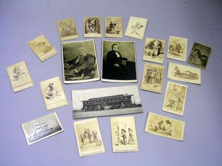 Set of Fifteen Civil War Era Political Cartoon Carte-de-Visites, a Lincoln Family Print Portrait Carte-de-Visite, a New Ironsides Carte