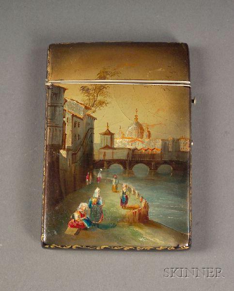 Victorian Painted Papier Mache Card Case