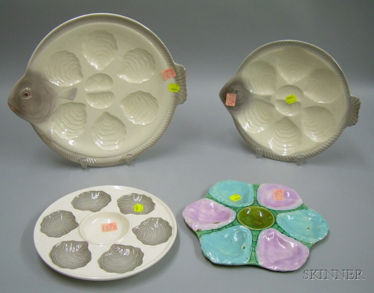 Four Majolica Oyster Plates