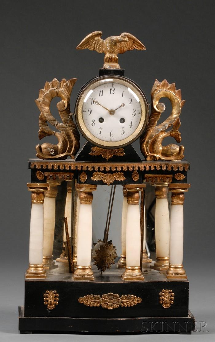 Biedermeier Ebonized, Parcel-gilt, Mirror, and Onyx-mounted Mantel Clock