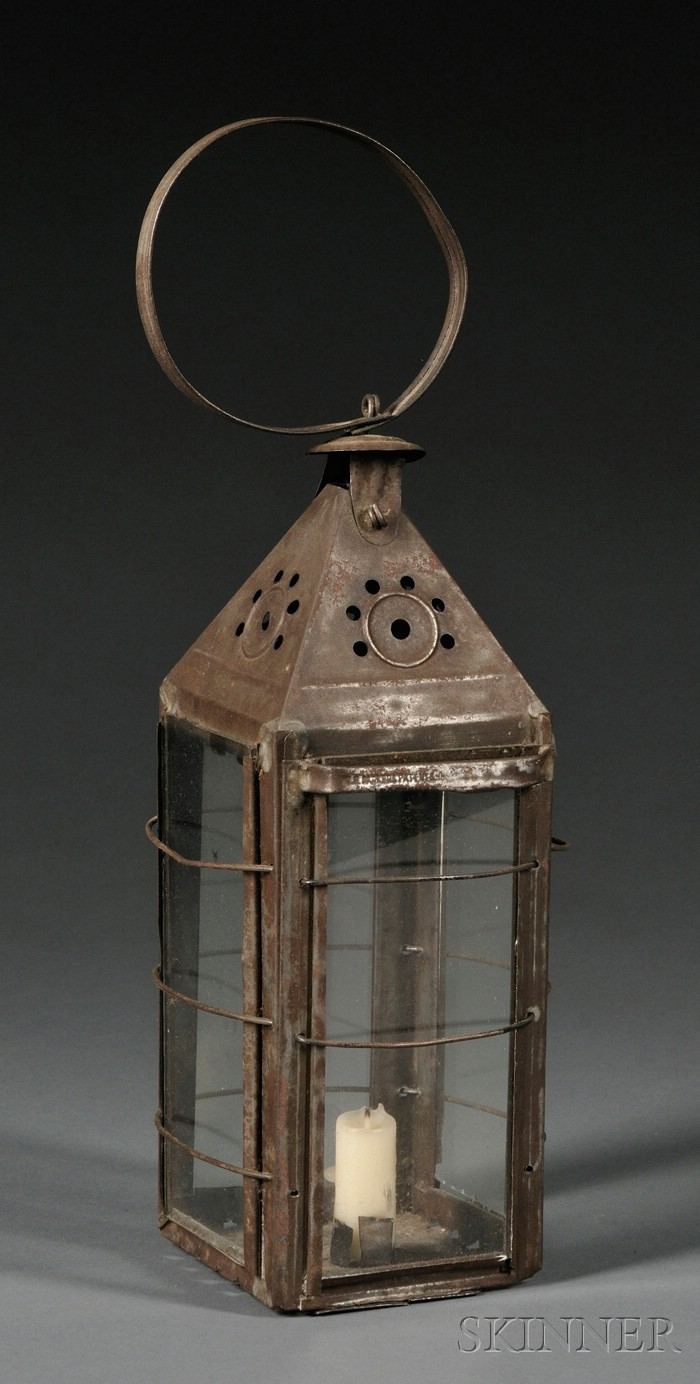 Tin and Glass Candle Lantern