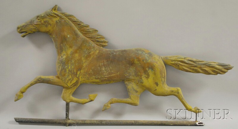 Gold-painted Molded Copper Running Horse Weather Vane