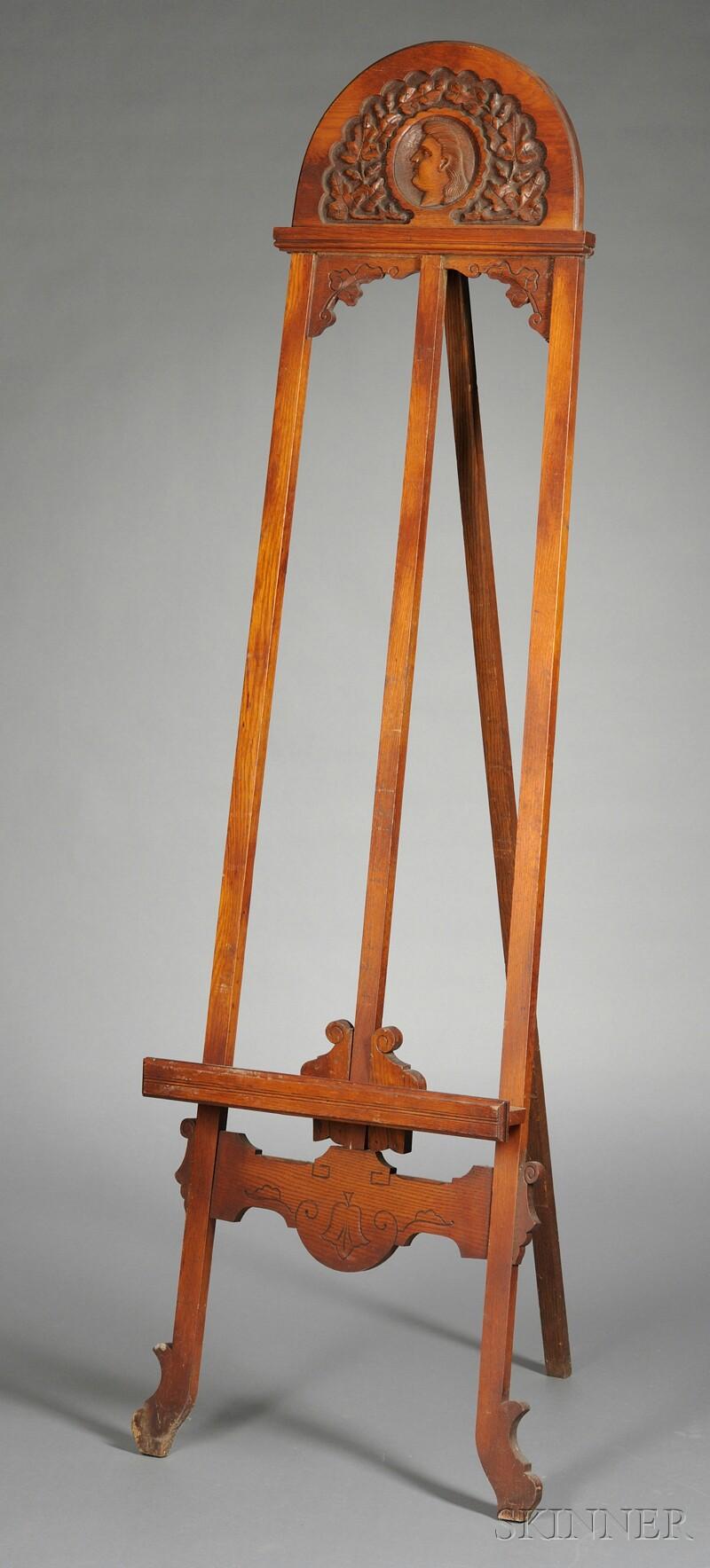 Aesthetic Movement Carved Oak Easel