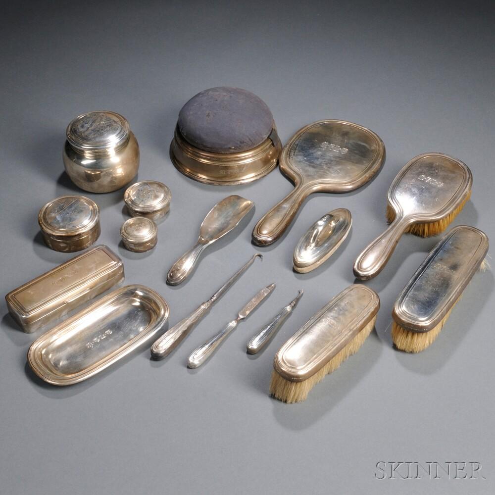 Sixteen-piece Tiffany & Co. Sterling Silver Dresser Set