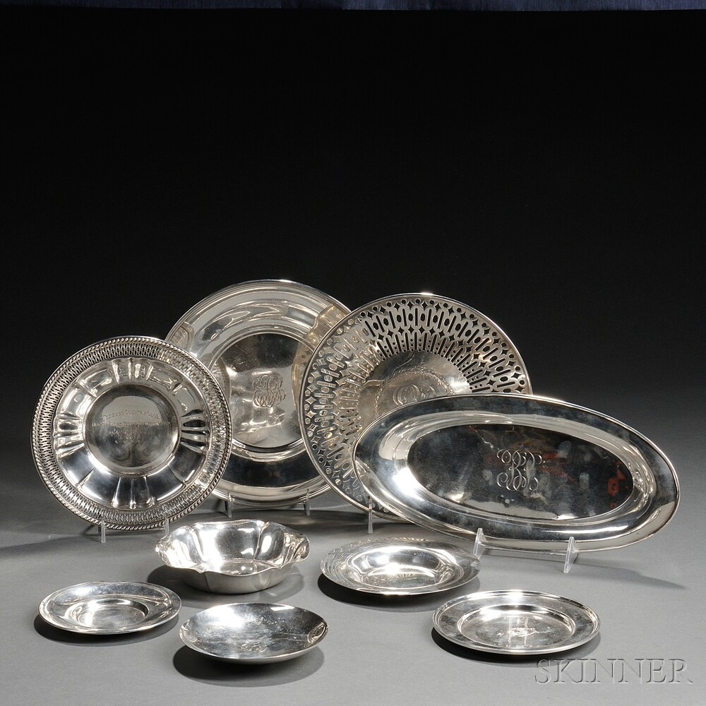 Nine American Sterling Silver Dishes