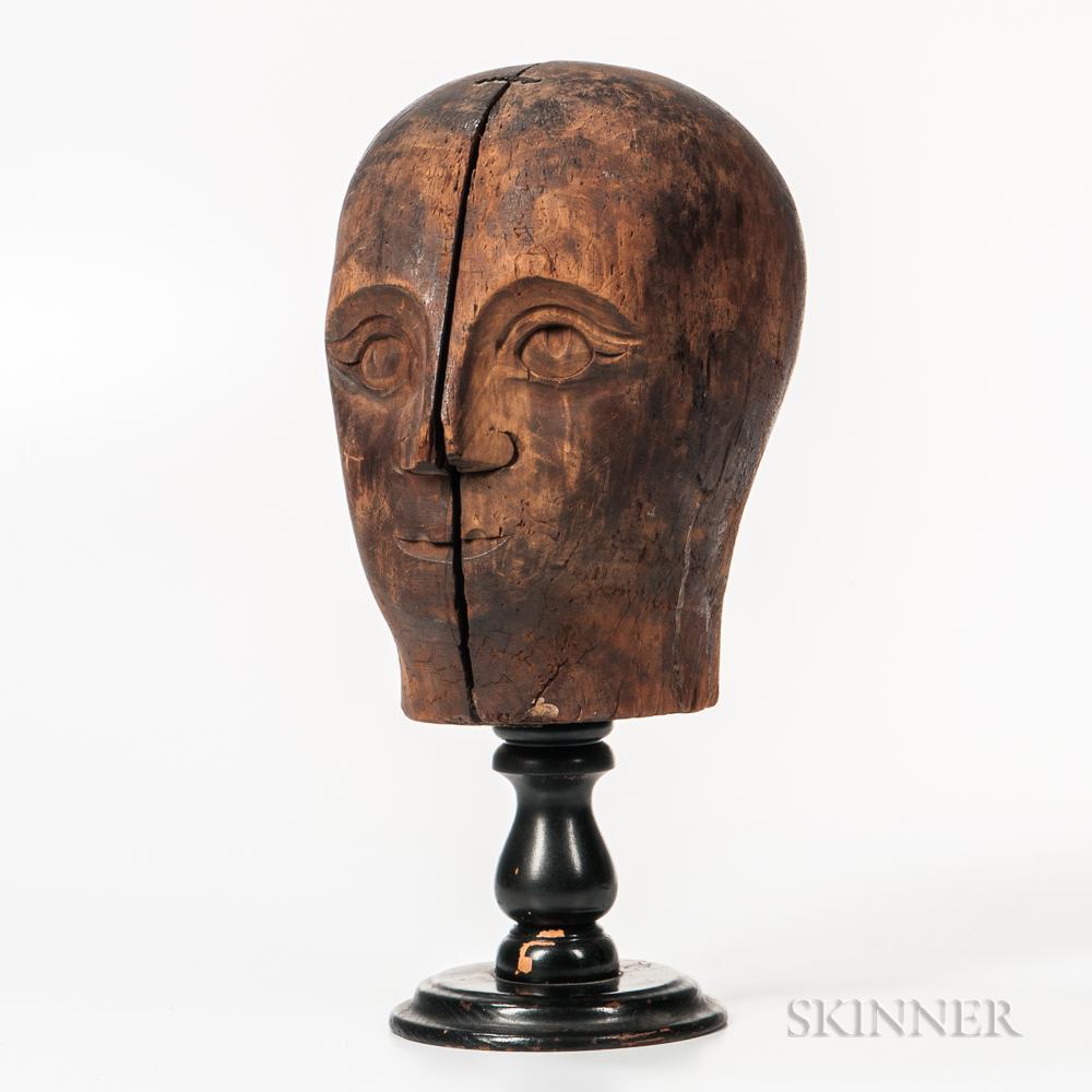 Folk Art Carved Wooden Head of a Man