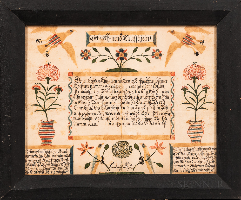 """Watercolor and Pen and Ink Birth Fraktur for """"Susanna,"""""""
