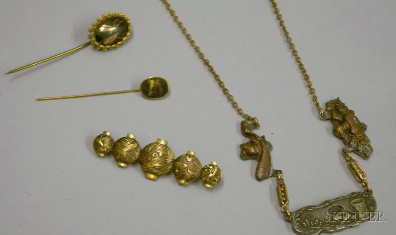 Two Japanese Lacquer Stickpins, a Gilt Bronze Group of Lanterns Brooch, and a Steel and Gold-filled Necklace.