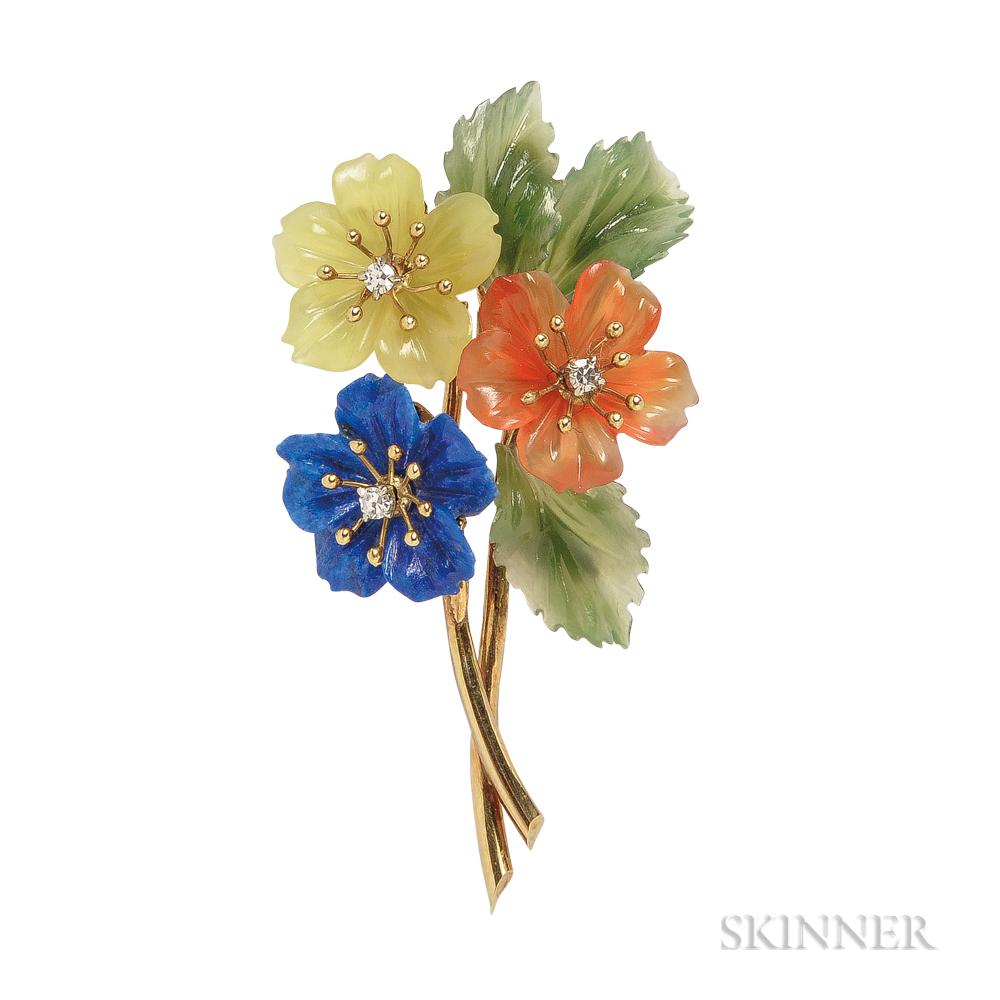 18kt Gold, Diamond, and Carved Hardstone Flower Brooch