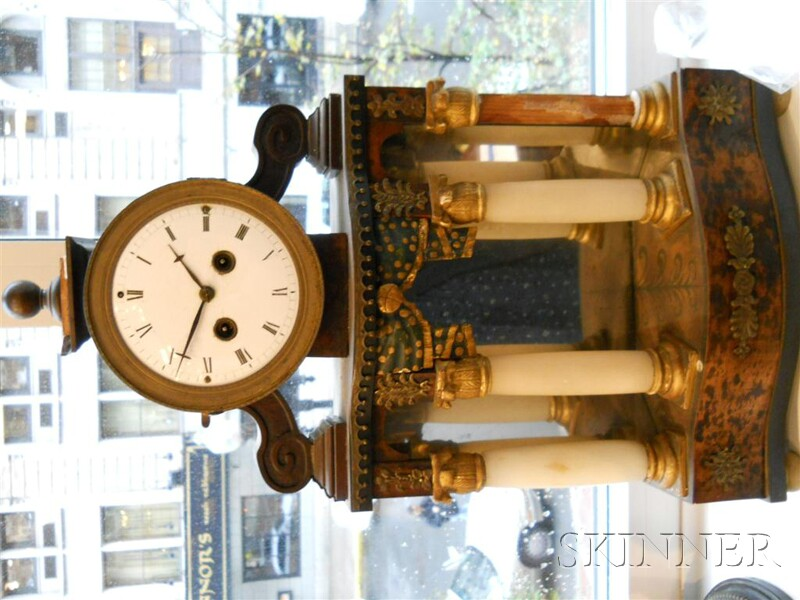 Biedermeier Painted and Parcel-gilt, Onyx, and Gilt-metal-mounted Mantel Clock