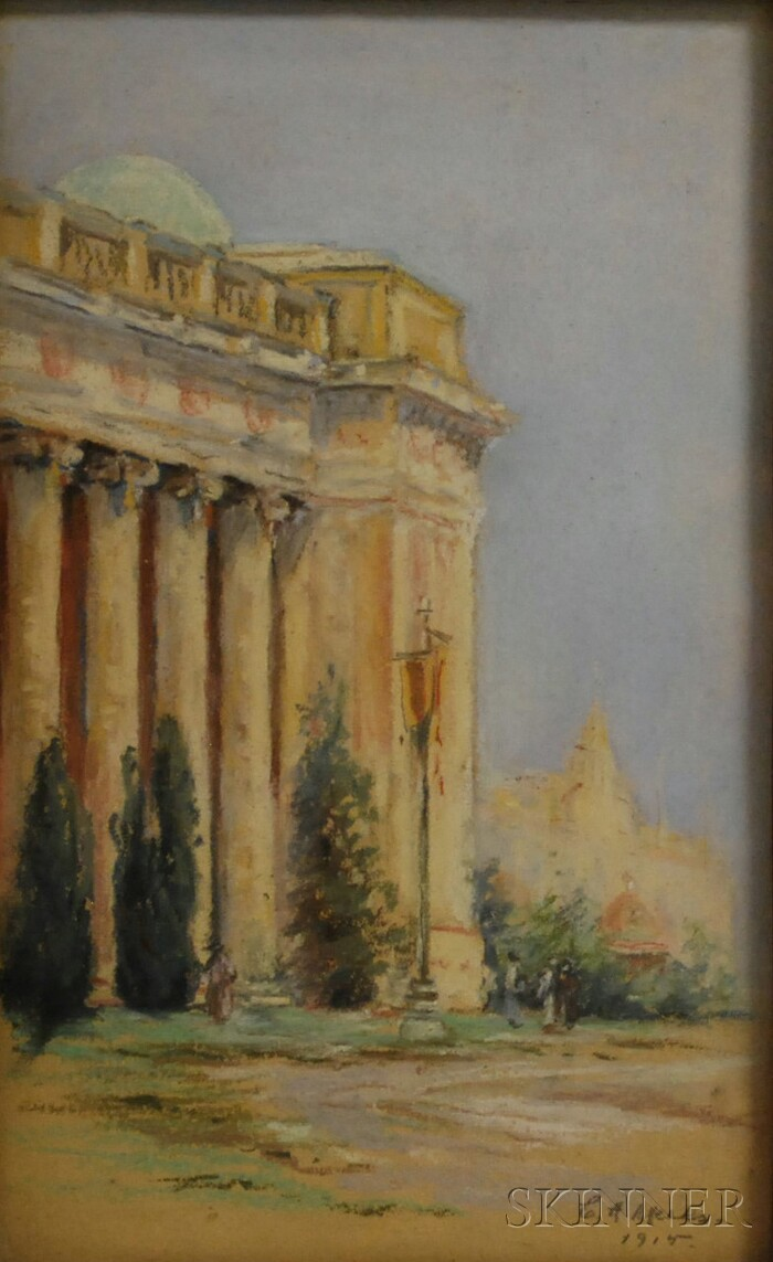 Attributed to Constance Adela Meeks (American, 1862-1947)      Detail of a Classical Building