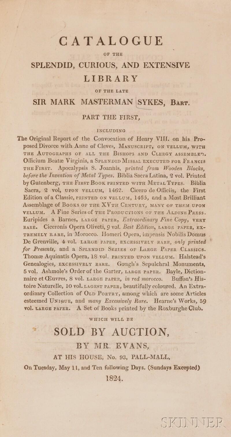 (Library Sale Catalog), Sykes, Sir Mark Masterman