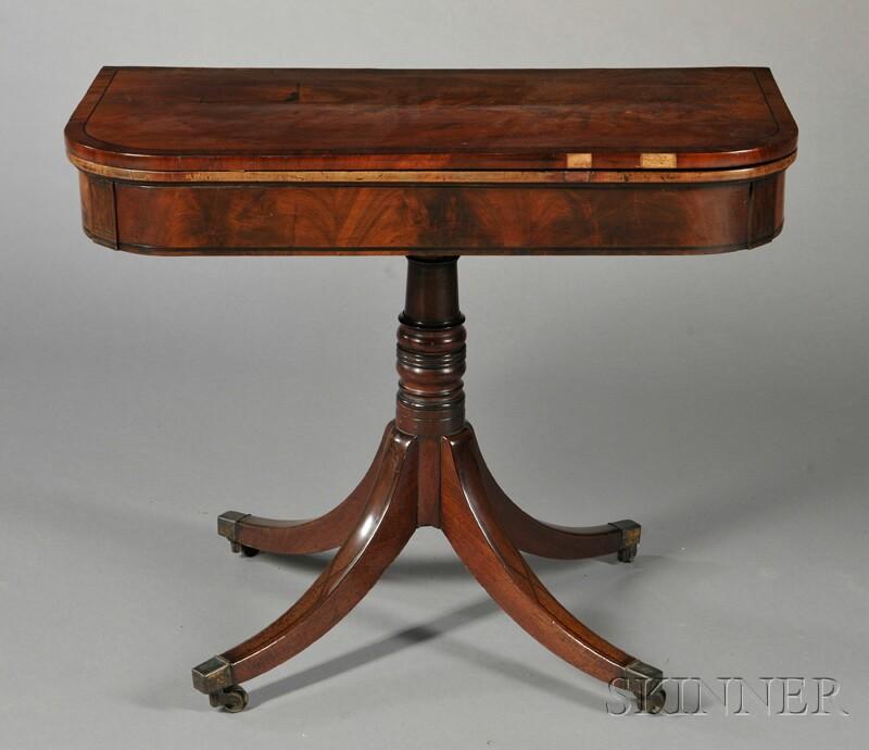 Inlaid Mahogany Veneer Games Table