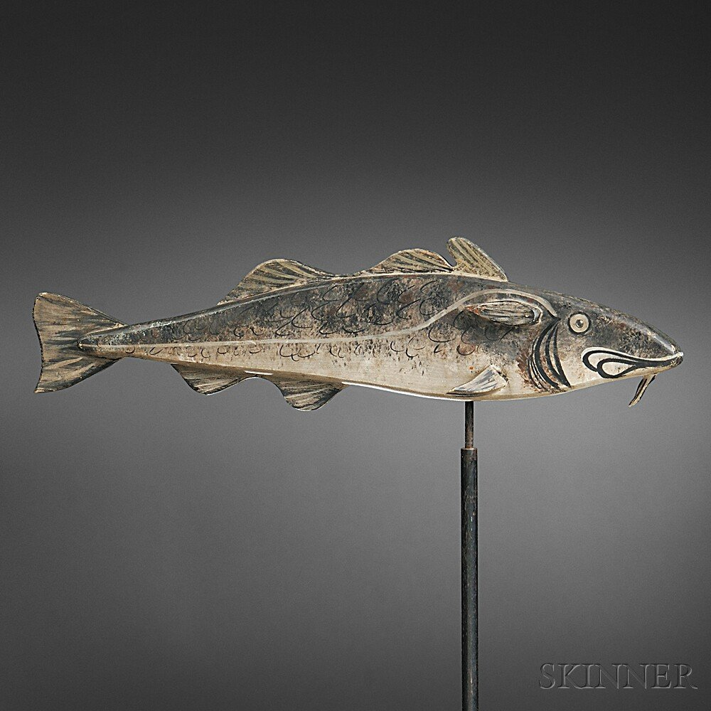Painted and Carved Codfish Weathervane