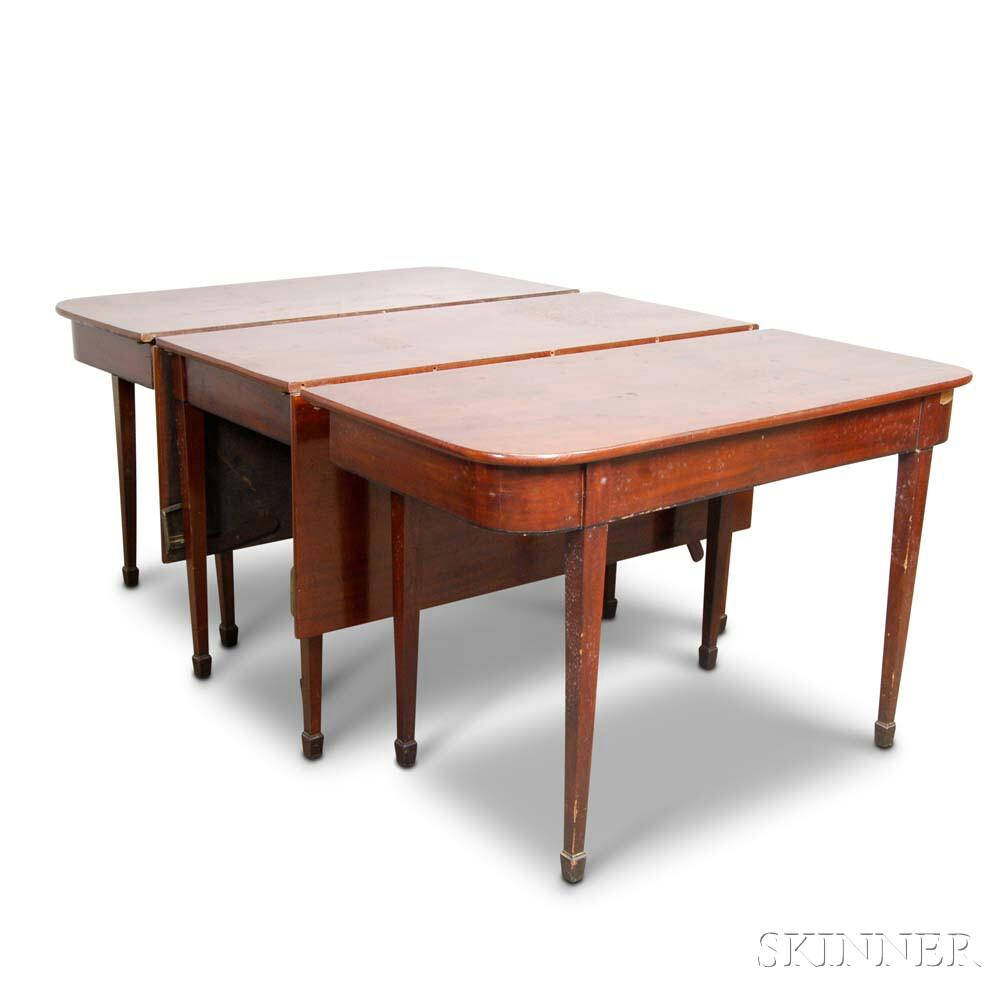 Federal Inlaid Mahogany Three-part Dining Table