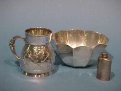 Tiffany & Co. Sterling Silver Bowl, Mug and Small Flask.