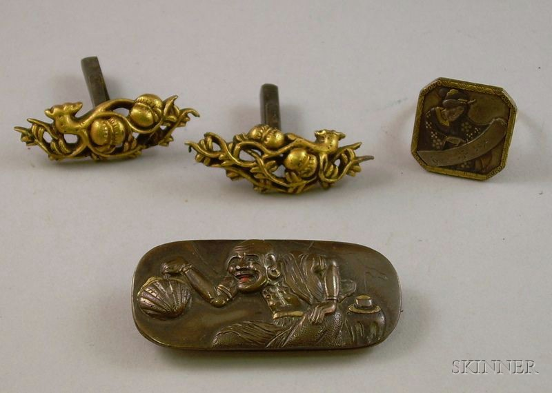 Pair of Japanese Gilt Sterling Cuff Links, a Bronze and 14kt Gold Ring, and a Bronze Brooch.