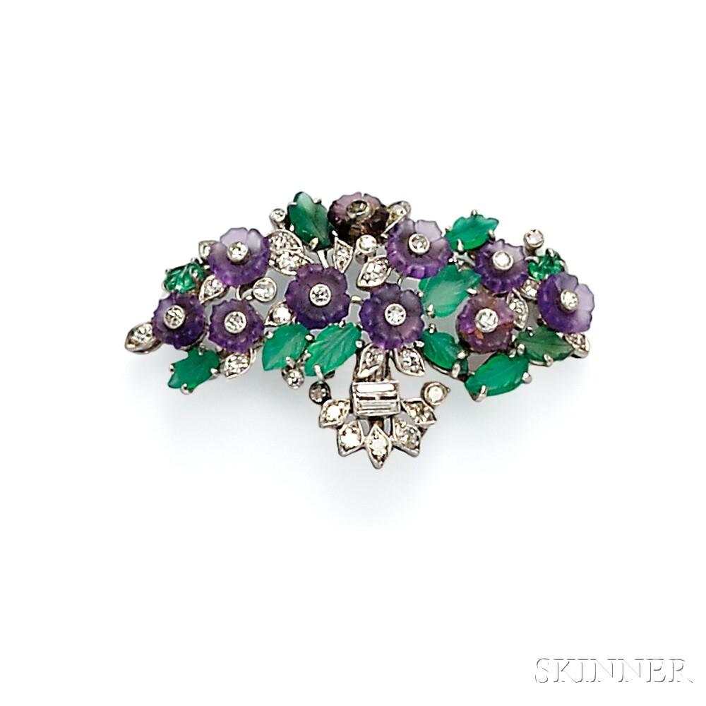 Platinum Gem-set Flower Basket Brooch