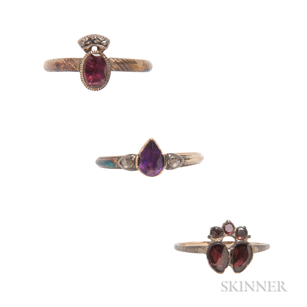 Three Antique Gem-set Rings