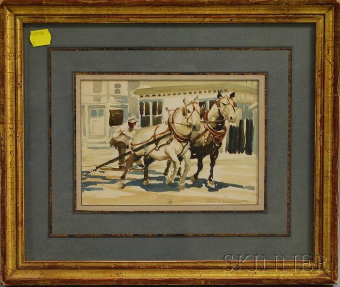John R. Grabach (American, 1886-1981)      Hitching Two Horses