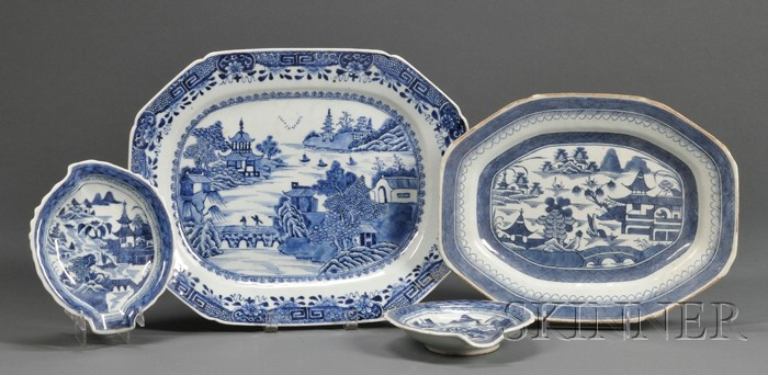 Four Blue and White Chinese Export Porcelain Items