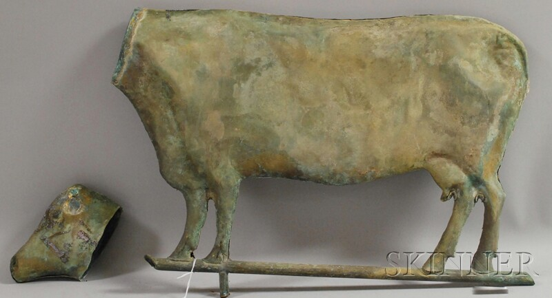 Patinated Molded Cow Weather Vane