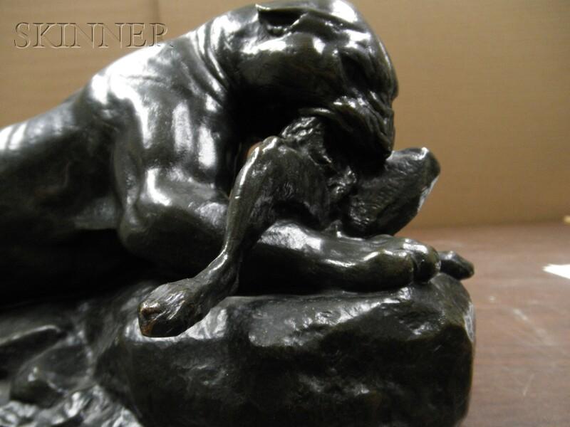 Antoine-Louis Barye (French, 1796-1875)      Jaguar tenant un lièvre [Jaguar Devouring a Hare]