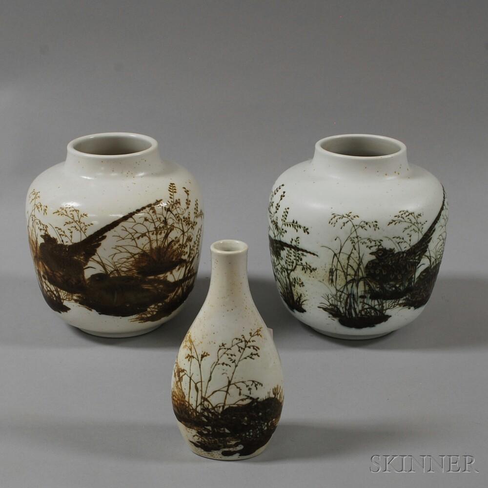 Three Nils Thorsson for Aluminia/Royal Copenhagen Glazed Ceramic Vessels