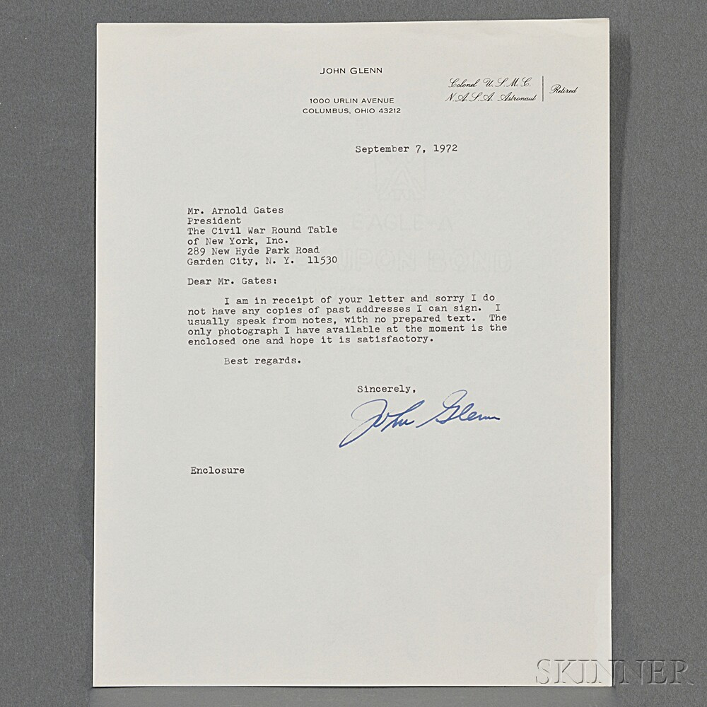Glenn John B  Typed Letter Signed  September   Sale