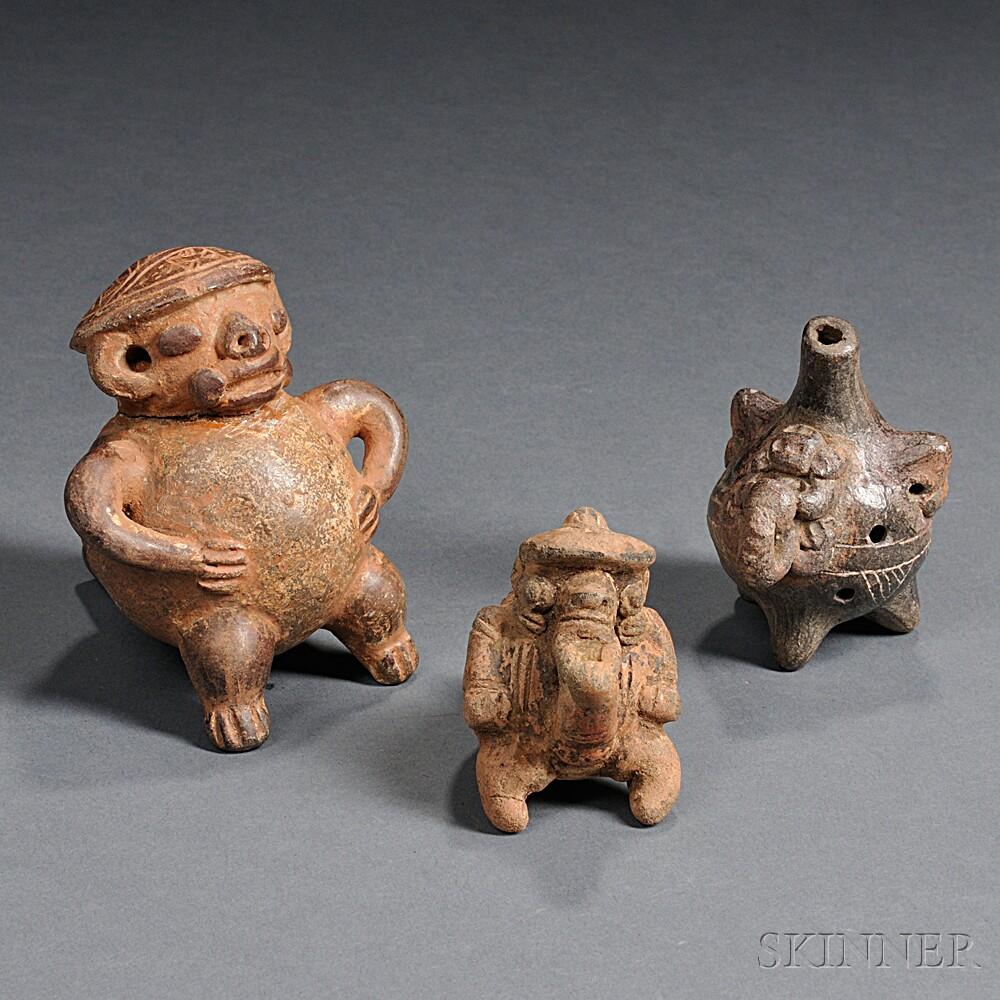 Three Pre-Columbian Pottery Ocarinas