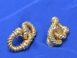 Pair 14kt Gold Knot Earclips