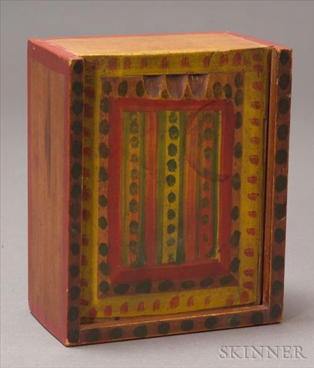 Polychrome Paint Decorated Sliding Lid Box