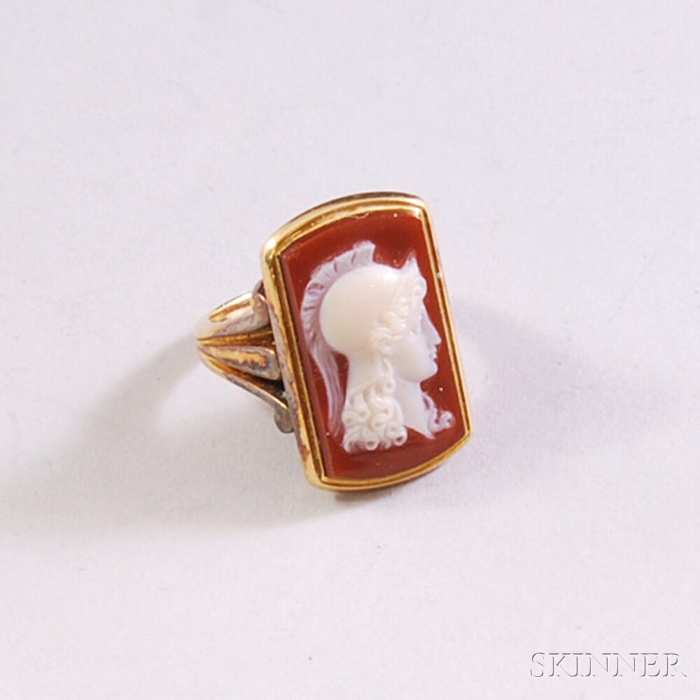 18kt Gold and Hardstone Cameo Ring
