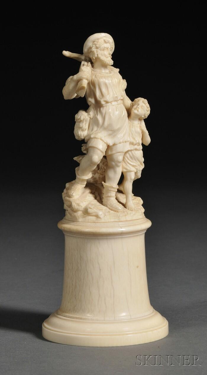 European Carved Ivory Figure of a Huntsman