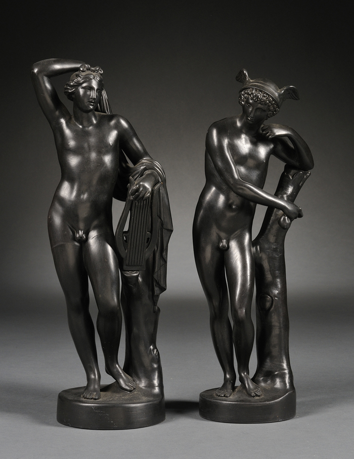 Two Wedgwood Black Basalt Figures