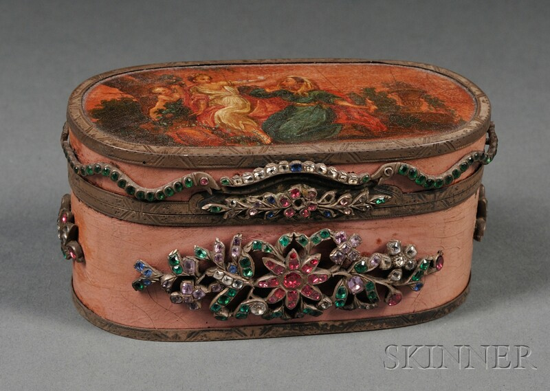 French Silver, Lacquer, and Paste-set Snuff Box