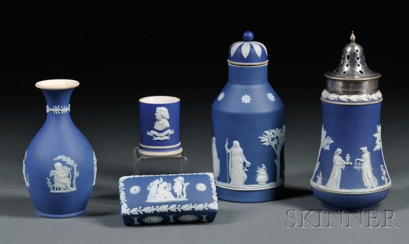 Five Wedgwood Dark Blue Jasper Dip Items