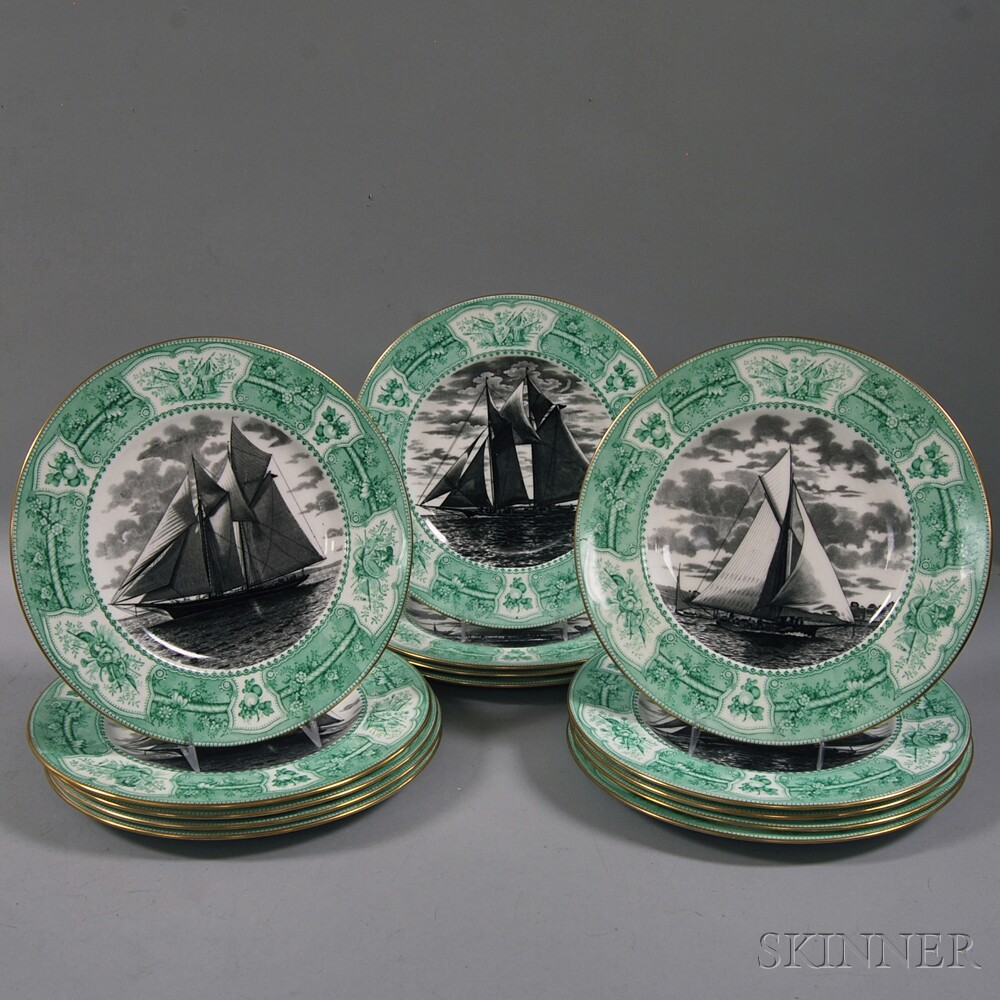 Set of Fourteen Wedgwood China Dinner Plates with Black-transfer Sailing Vessels