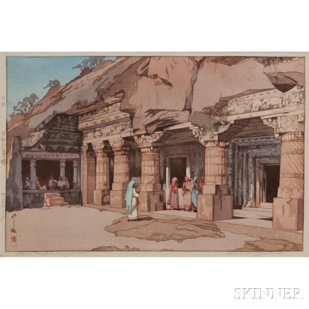 Hiroshi Yoshida (1876-1950), Cave Temple in Ajanta