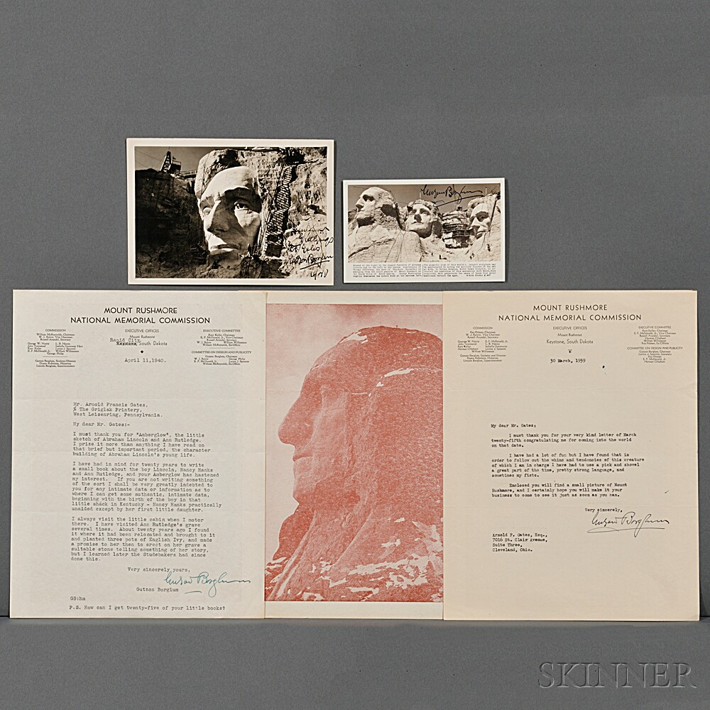 Borglum, Gutzon (1867-1941) Three Typed Letters Signed and Two Signed Picture Postcards.