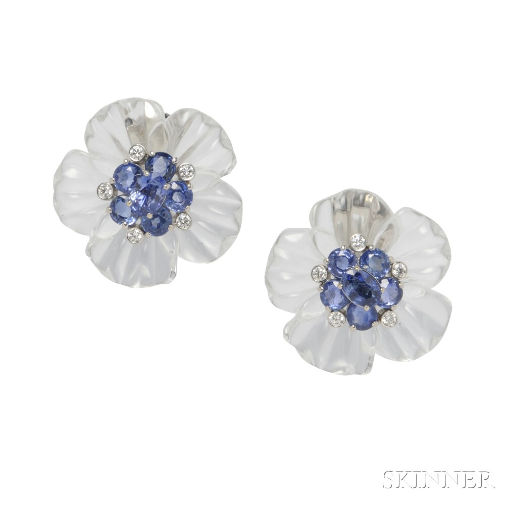 18kt White Gold, Rock Crystal, Sapphire, and Diamond Earclips, Aletto Bros.